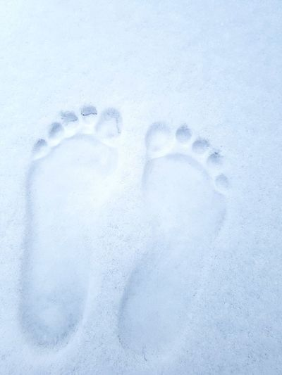 Foot Prints Snow Full Frame Close-up