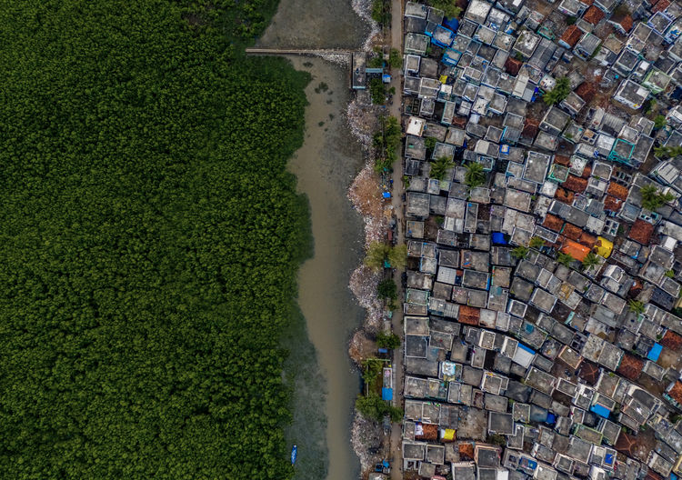 Aerial view of slum by canal