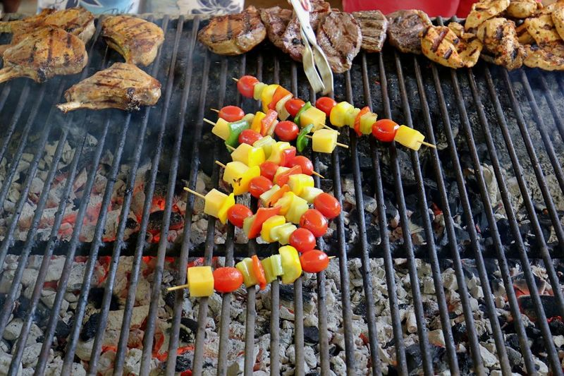 Vegetarian Dish Barbecue Barbecue Grill Close-up Day Food Food And Drink Freshness Grilled Healthy Eating High Angle View No People Outdoors Preparation  Skewer