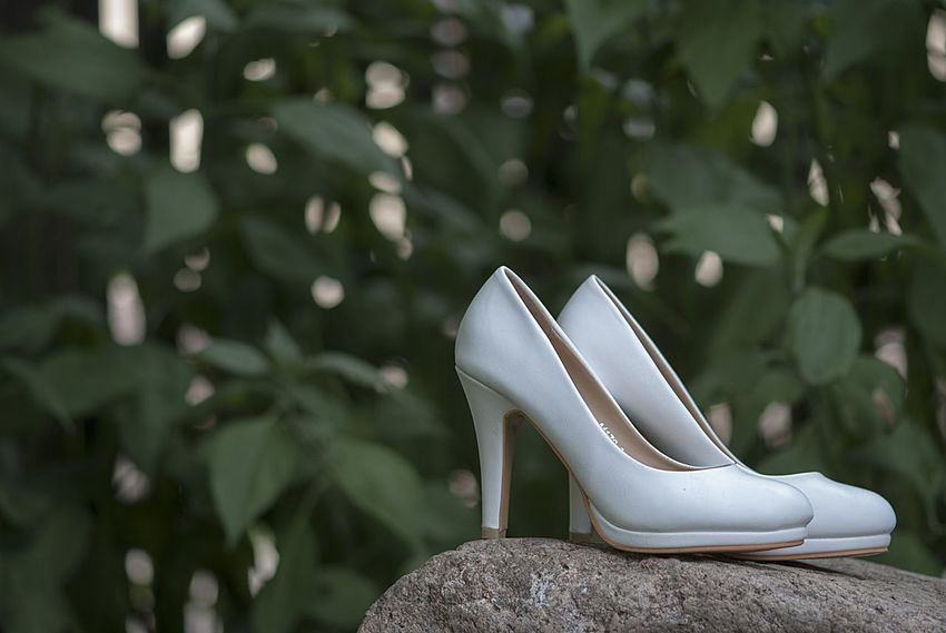 Bride Close-up Fashion Details Focus On Foreground Green Background Green Color Shoe Stone Material Tree Wedding White Shoes