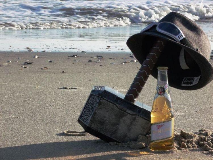 Mjolnir Miller Time Miller miller beer Miller High Life Googles Fedora  Thor  Thor's Hammer beach Holden Beach