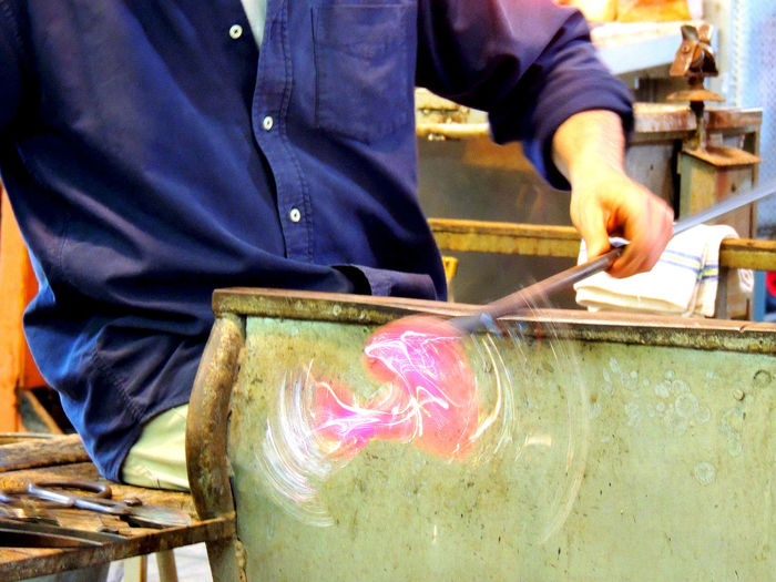 Glass blower Murano Casual Clothing Close-up Day Focus On Foreground Glass Glass - Material Glass Art Glass Blowing Italy Leisure Activity Lifestyles Midsection Murano Part Of Skill