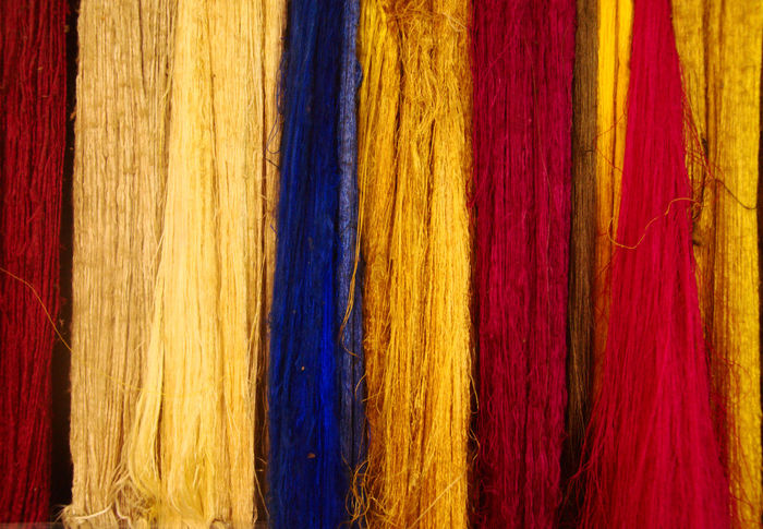 ASIA Cambodia Rural Siem Reap Silk Road Traditional Clothing Travel Photography Antiques Arts Culture And Entertainment Blue Commercial Cooperation Handmade Multi Colored EyeEmNewHereOld Ong Red Silk Southeast Asia Textile Time Traditional Women Yellow
