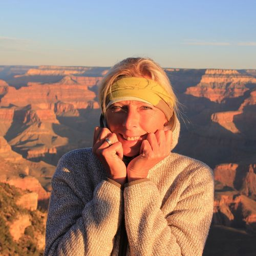 Portrait of woman at grand canyon national park on sunny day