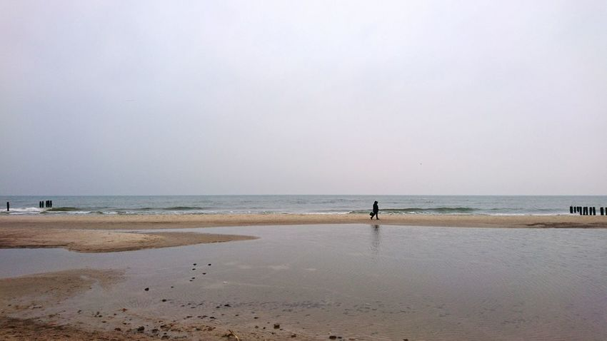 Beach Sea Horizon Over Water Sand Water Nature Outdoors Tranquility Scenics Tranquil Scene Sky People Coastline One Person Real People Beauty In Nature Winter Cold Day Landscape Baltic Baltic Sea Tranquility Day Walking Alone...