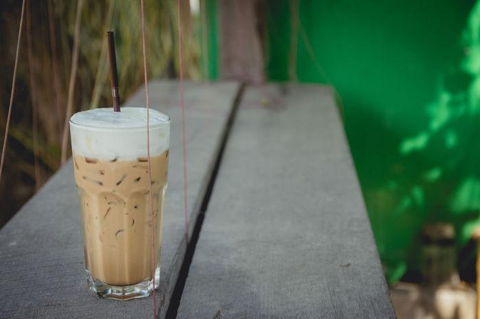 Iced Coffee Wood Wooden Table Cappuccino Cream Fresh Coffee Milk Cream ıced Coffee