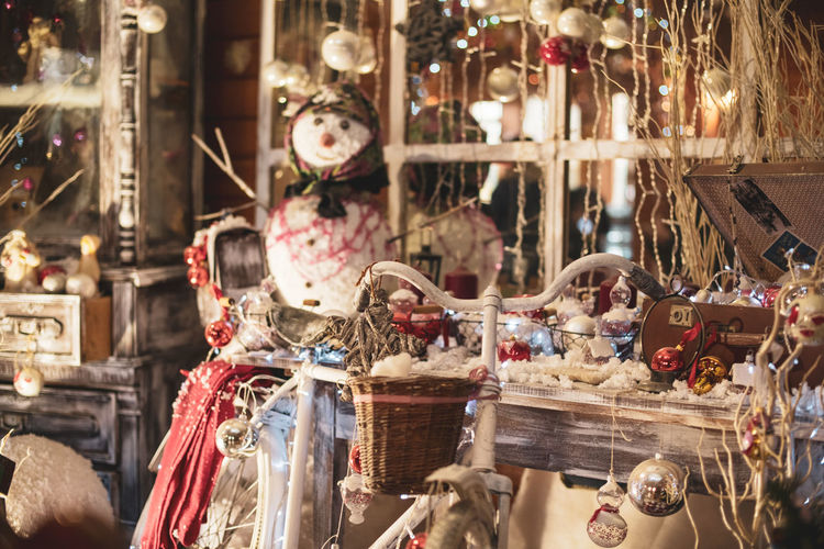 View of christmas ornaments for sale in market