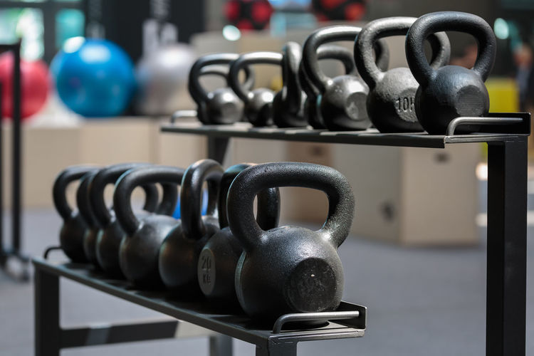Close- up of kettle bell at gym