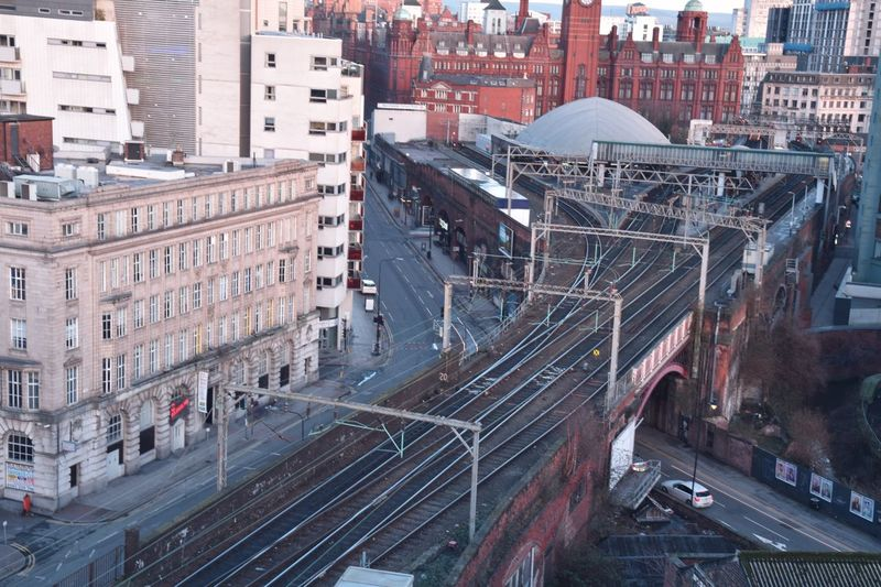 High angle view of railway bridge in city