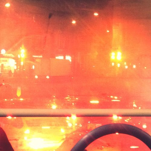 Number 73 bus... We have stopped... Hence the red glow of the red tail lights...