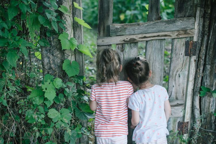 Doors Exploring Sisters Bonding Child Childhood Children Only Curious Friendship Garden Girls Nature Old Wooden Door Peep Pry Rural Scene secret garden Sister Love Sneak Standing Togetherness Tree Twins Village Village Life Go Higher