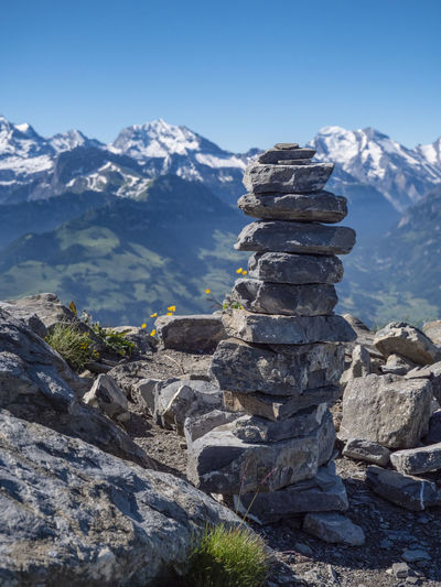 Lil stonetower Niesen Beauty In Nature Landscape Mountain Mountain In The Background Mountain Peak Mountain Range Mountains Nature No People Outdoors Rock Rock - Object Scenics - Nature Sky Snow Solid Stack Stone Stones Stonetower Switzerland Tranquil Scene Tranquility Zen The Great Outdoors - 2018 EyeEm Awards