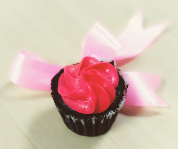 Pinkday AGAINSTBULLYING Ribbon Color Cream Cake Brownie Candy Cupcake Dessert Pink Color Close-up Sweet Food Food And Drink