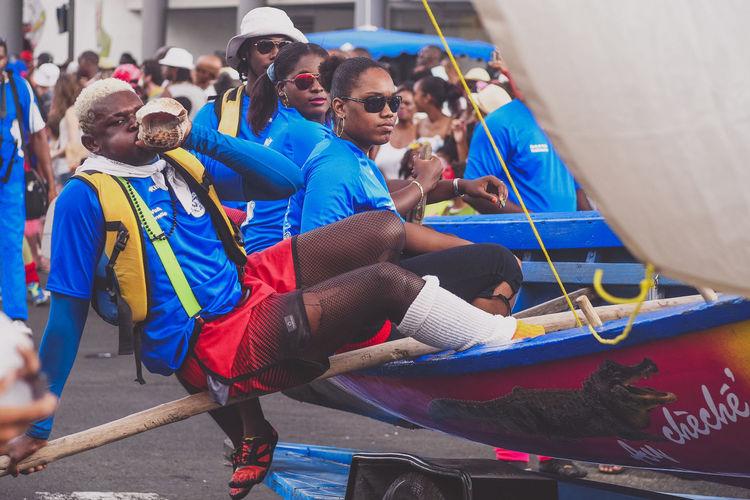 Martinique Carnival - Yole Sailers Band Caribbean Carnival Colors Of Carnival Enjoyment Face Fun Holding Island Life Lifestyles Martinique Parade Portraits Real People Sailers Street Photography