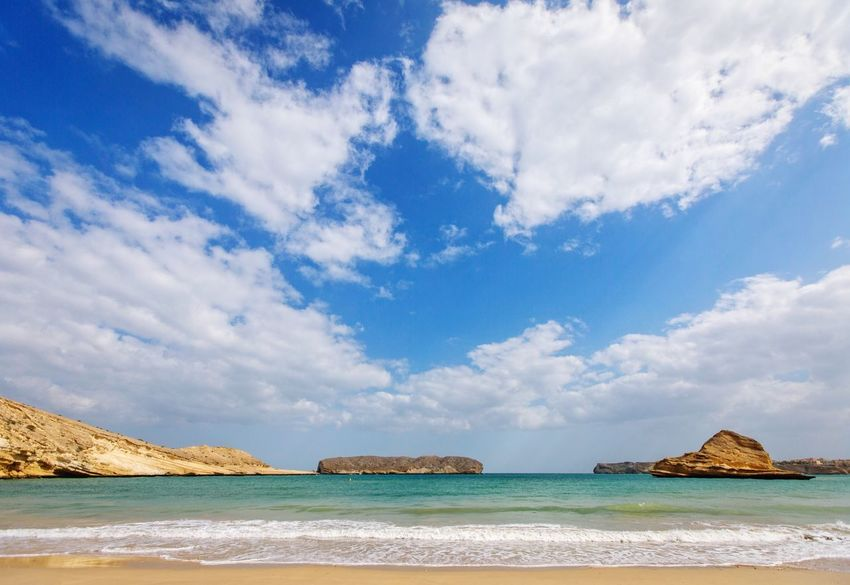 Sky Sea Nature Cloud - Sky Scenics Beauty In Nature Outdoors No People Rock - Object Beach Water Day Landscape Beach Life Beach Photography Visit Oman Sea Scape Seashore Beautiful Nature Must See