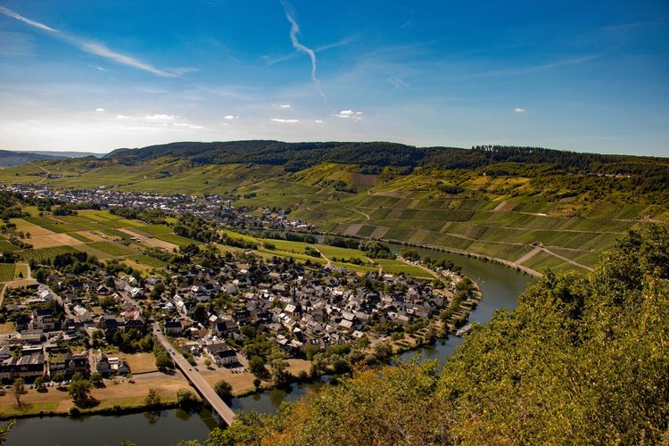 High angle view of field against sky of moselle and vineyard