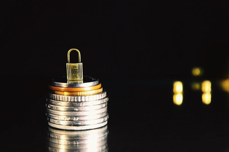 secure your money Digital Cyber Crime Hacker Scam Protect Safe Key Business Investment Work Savings Profit Income Salary Asset Money Secure Lock Wealth Close-up Night Indoors  No People Black Background