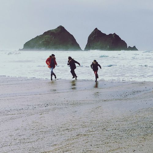 Children Cornwall Kernow Sea Wave Running Fun Childhood Beach Sea Water Sand Full Length Nature Togetherness Scenics Outdoors People Friendship