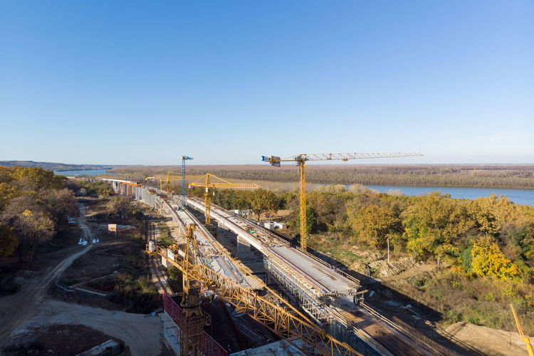 High angle view of railroad tracks against clear sky
