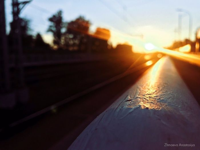 Sunlight falling through car windshield at sunset