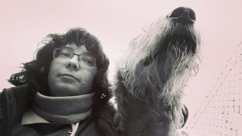 Portrait One Person People Adults Only Close-up Outdoors That's Me Hello World Selfies Bokeh Winter 2017 March 2017 Monochrome Blackandwhite Looking At Camera Domestic Animals Dogs Of EyeEm Dog Of The Day Dogwalk Cearnaigh Irish Wolfhound Animal Head  Low Angle View