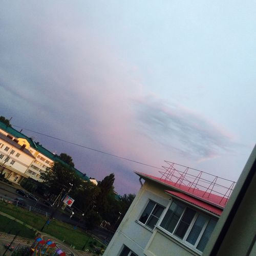 Небо после дождя No People Architecture Building Exterior Built Structure House Sky Tree Street City Cloud Outdoors Day Cloud - Sky City Life Town Power Line  First Eyeem Photo