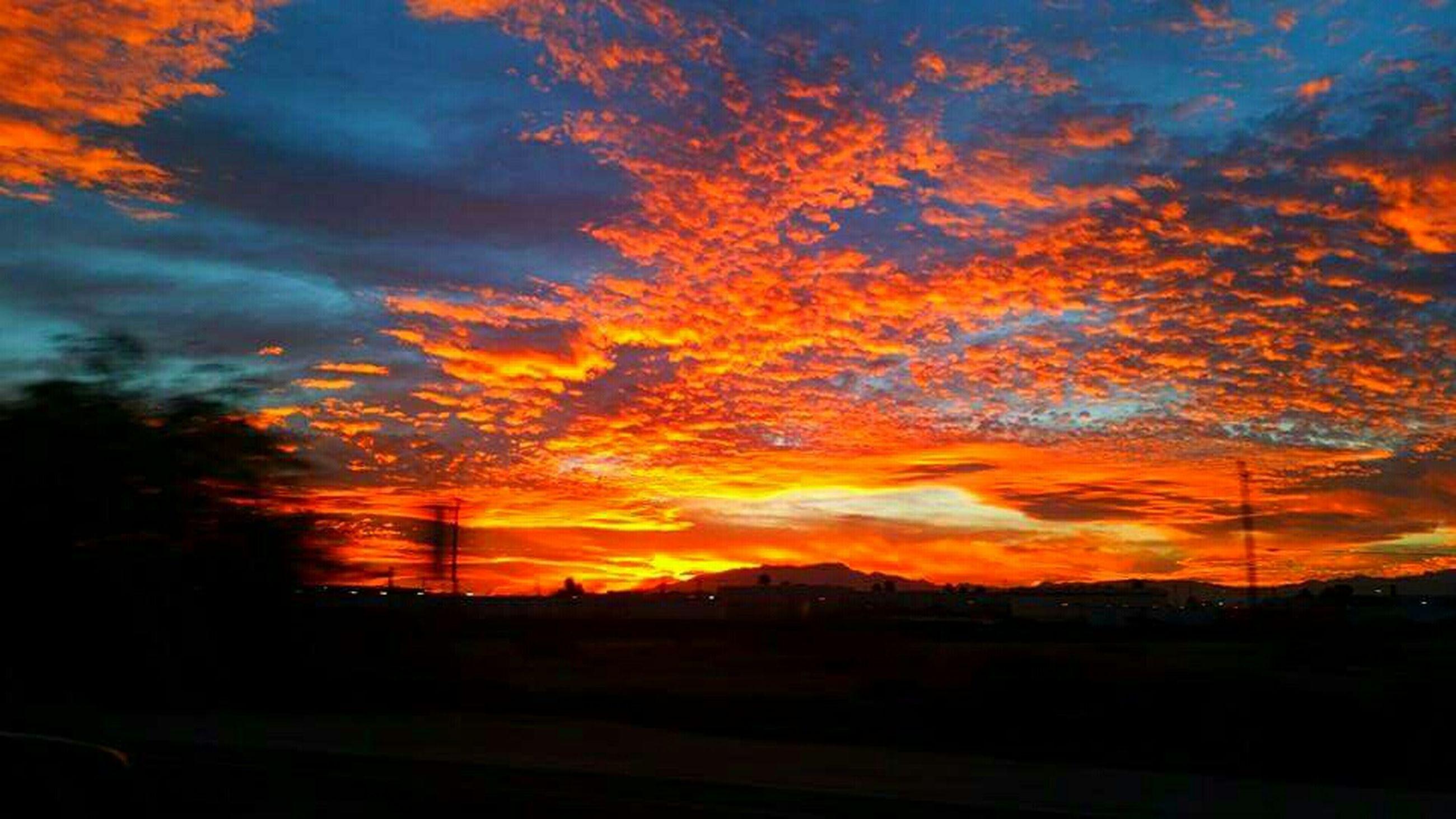 sunset, sky, orange color, silhouette, scenics, cloud - sky, beauty in nature, tranquil scene, tranquility, dramatic sky, landscape, idyllic, nature, cloud, moody sky, cloudy, atmospheric mood, majestic, field, dark