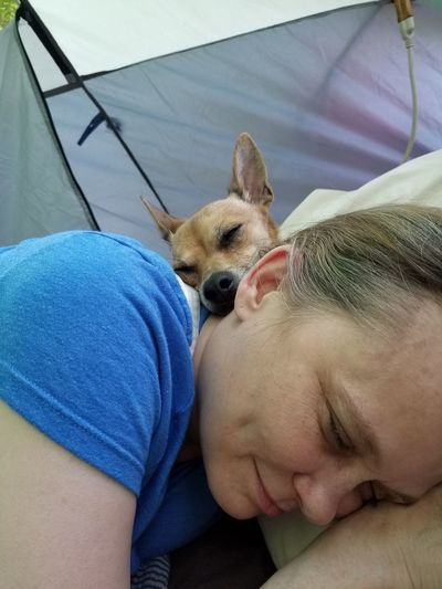 Me And My Dog Ilovemydog Pet Photography  Chiuahua Peanut Dogslove Pet Pet Photography  Dogslife Love Relaxing Camping Campinglife Camping Life Sleeping Pets Dog Men Lying Down Close-up #NotYourCliche Love Letter