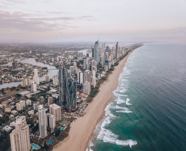 Water Sea Beach Land Nature Sky Beauty In Nature High Angle View Crowd Scenics - Nature Day Outdoors Architecture City Cloud - Sky Travel Coastline Tranquil Scene Trip Cityscape