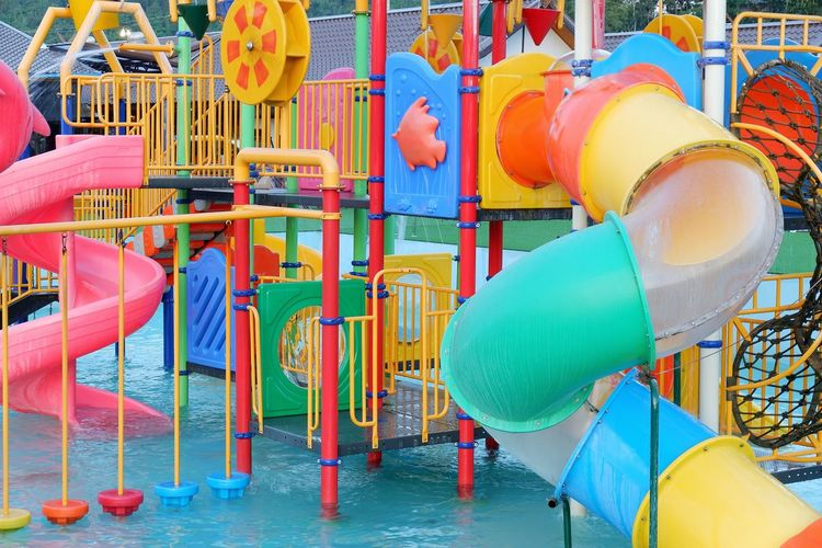 Background Color Water Multi Colored Water Slide Swimming Pool Amusement Park Slide - Play Equipment Water Park Outdoor Play Equipment