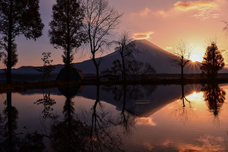 Idyllic view of trees and mountain reflected in lake during sunrise