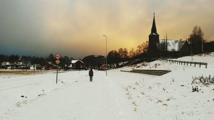 Norway Wintertime Snow Snowy Church Place Orkanger Fannrem Landscape
