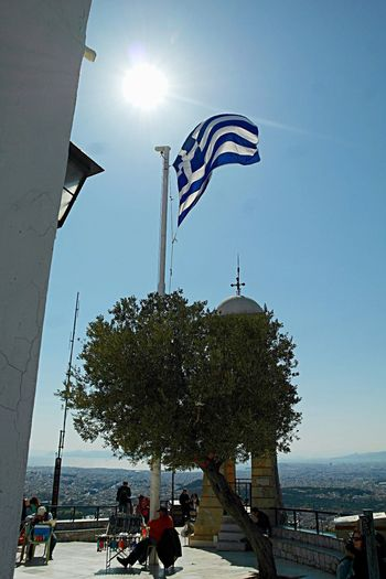 Athens, April 2015. Athens Greece Greek Flag Flag Sun Rays Of Light Lycabettus