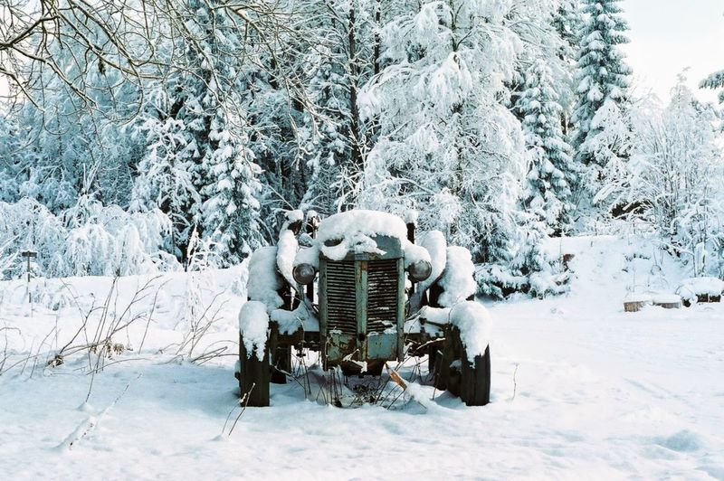 Frozen Tractor On Snow