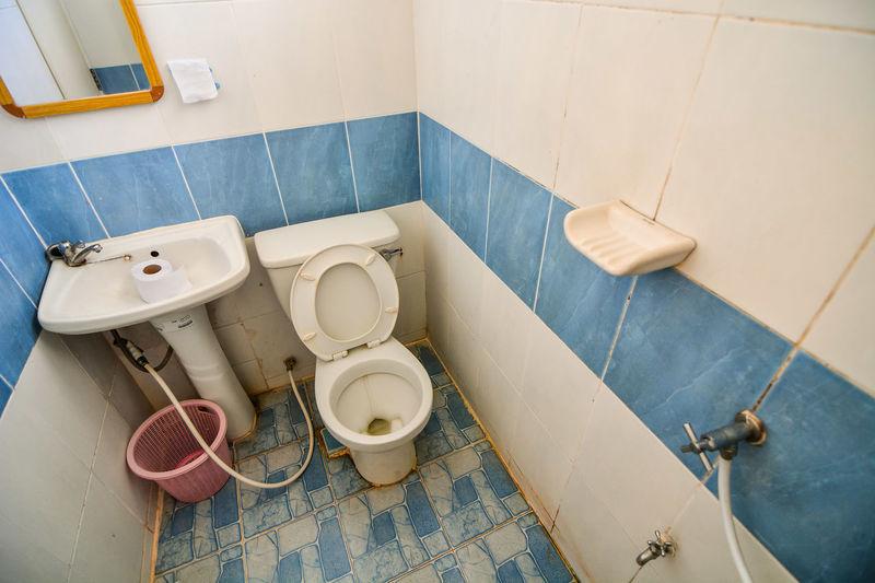 High angle view of bathroom