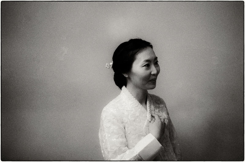 My wife on our wedding day. Iksan, South Korea. May 2018. 35mm Summaron ASIA EyeEm Best Shots Film Ilford Film Ilford HP5 Plus Korea Korean Learning Leica Came Portrait Of A Woman Seoul Black And White Filmisnotdead Hanbok Leica M6 Monochrome Portrait