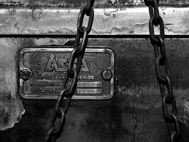 Bnw Close-up Communication Day High Contrast Metal No People Outdoors Railroad Security Text Transportation