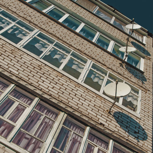 Building Exterior Architecture Built Structure Window Outdoors Day No People Sattelitedish Sattelite Curtains Bricks USSR, Urban Urban Geometry Province Provincelife