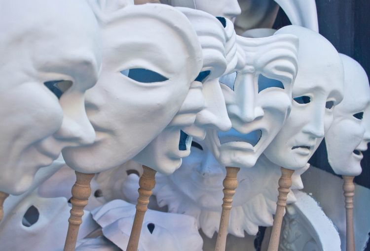 Close-up of various masks