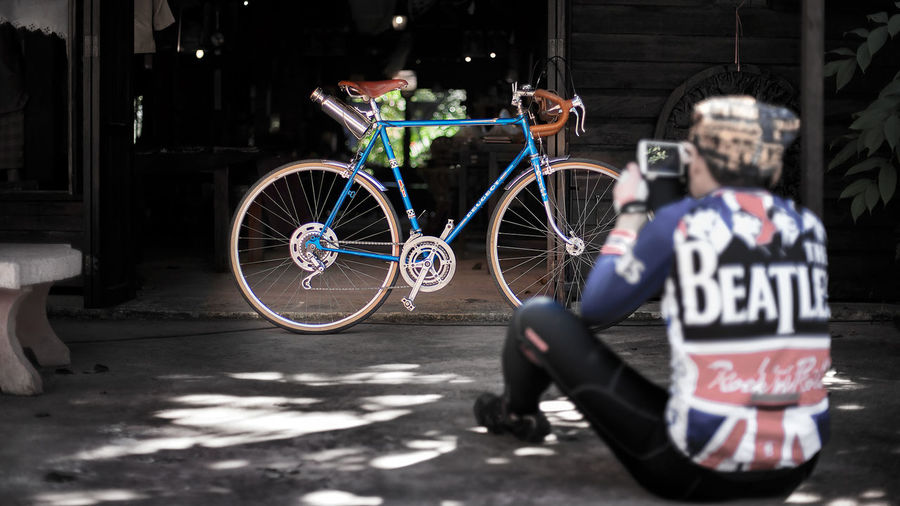 Bicycle Cycling Man Parked Peugeot Riding Saraburi Thailand Vintage Bicycle
