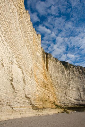 Rock formation on land against sky, etretat, france