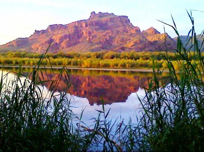 Red Mountain Fire Rock Ridge Salt River Mesa, AZ Reflection Landscape Nature Outdoors Scenics Multi Colored Rural Scene Mountain Water Plant Tree No People Grass Sunset Beauty In Nature Horizon Over Water Day