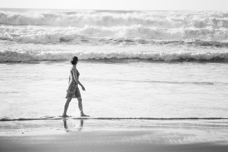 Beach Blackandwhite Motion Ocean One Person People Sand Sea Sea And Sky Summer Vacations Water Wave