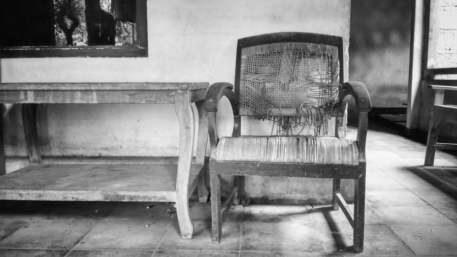 Indoors  Chair No People Day Close-up Black And White Friday Black & White Classic Blackandwhite Architecture Table Chairs And Tables Wicker Chair Yogyakarta,indonesia Yogyakarta Story Blackandwhite Photography
