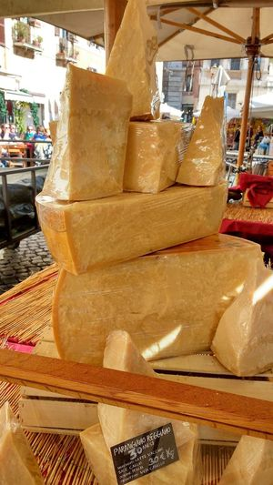 Business Food Hard Cheese Italian Market Market Stall Parmesan Parmigiano-reggiano Pieces Of Cheese Retail  Rome
