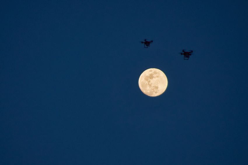 Silhouette Moon Shots Sky Photography EyeEm Best Shots Eye4photography  Nightphotography Silhouette Drones Moon Sky Blue Air Vehicle Low Angle View Night Copy Space Beauty In Nature No People Mode Of Transportation Tranquility Full Moon Transportation Scenics - Nature Clear Sky Nature Flying Airplane Space Astronomy