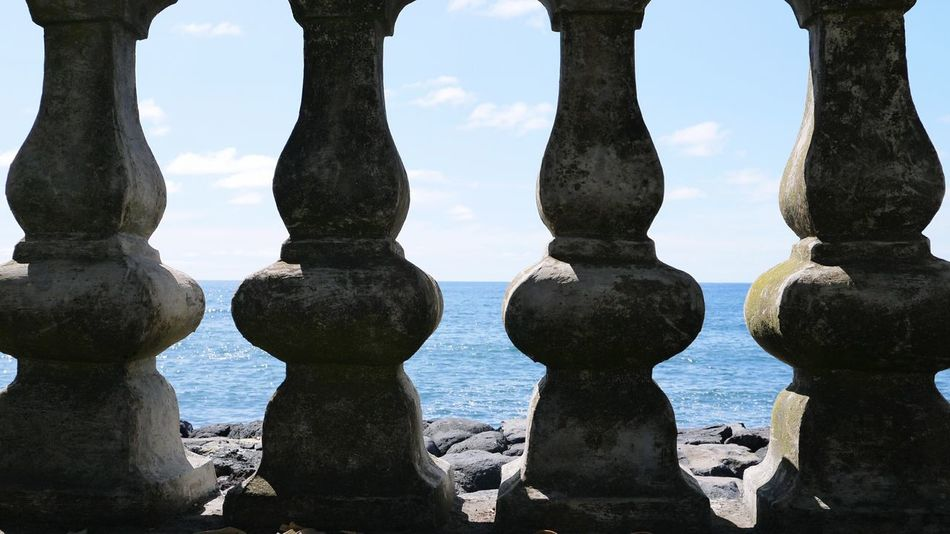 Water No People Day Nature Ancient Civilization Sky Sea Background Ocean Background Sky Background Architecture Architecture_collection Architectural Detail Columns Colomns Stone Material Perspectives On Nature
