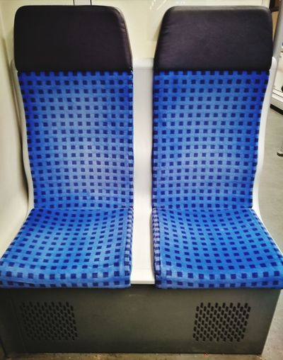 Traveling Seat Seats Sitz Sitze Train Railway Zug Bahn Personenzug Personenwagen Wagon  S-bahn Railway Blau Blue Transportation Personentransport Work Arbeit Arbeitsweg Way To Work City Blue Close-up Pattern Rail Transportation Passenger Train Textured  Railroad