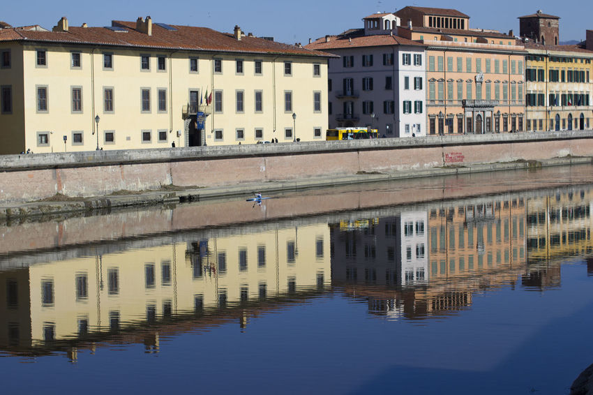 Building Exterior Built Structure Reflection Architecture Water Building Waterfront Nature City Day Residential District Sky Symmetry Outdoors Pisa Pisa, Italy Arno River