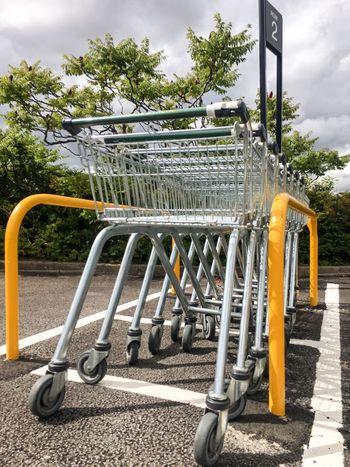 A Row Of Shopping Trolleys 🛒 TTrolleytTrolliesSSupermarketSShopping CartcCartGGrocery ShoppinggGroceriesLLINErRowoOutsidefFirst Eyeem PhotoTrolleys